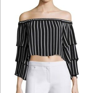NICHOLAS Off-the-shoulder tiered Striped Crop Top